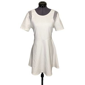 Gentle Fawn A Line Solid White Flare Tee Dress